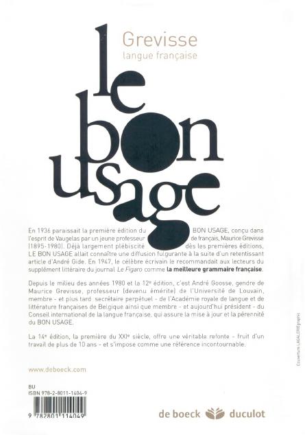 Le bon usage de Maurice Grevisse pdf à vendre 7