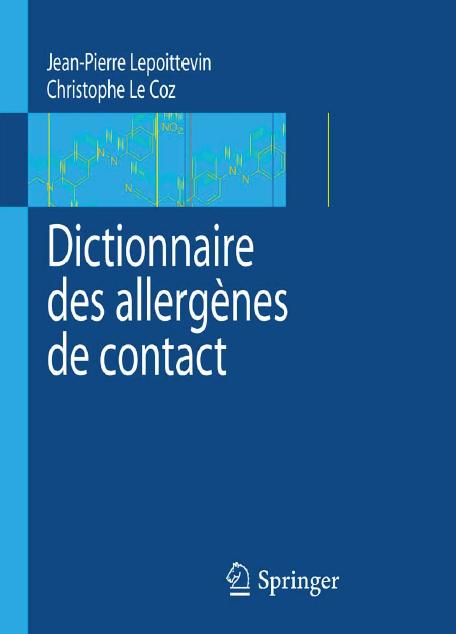 Télécharger livre gratuit : Dictionnaire des allergènes de contact pdf gratuit 1