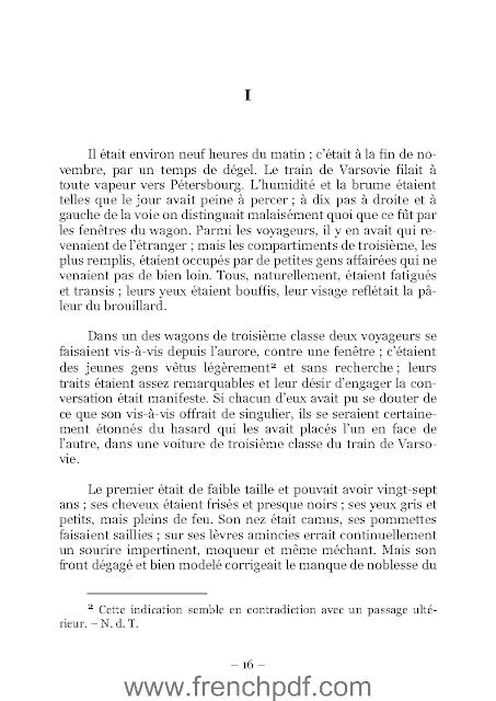 Roman L'idiot PDF Fiodor Dostoïevski + résumé 1
