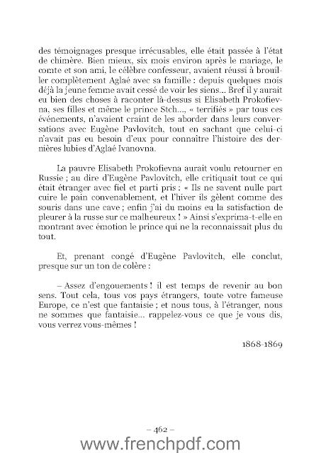 Roman L'idiot PDF Fiodor Dostoïevski + résumé 3