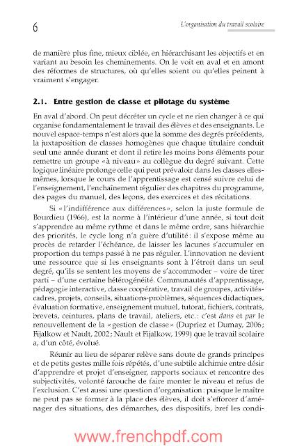 L'organisation du travail scolaire en PDF livre gratuit 3