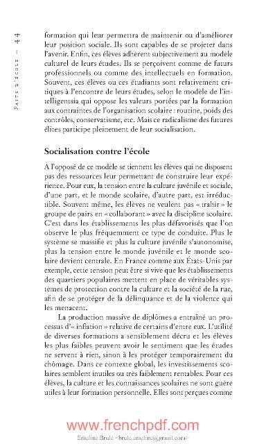 Faits D Ecole De Francois Dubet Livre Pdf Gratuit