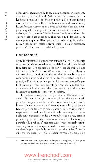 Faits d'école de François Dubet Livre PDF gratuit 2