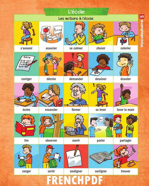 Apprendre le français en images: Les actions à l'école 2