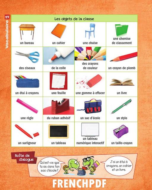 Apprendre le français en images: Les objets de la classe 3